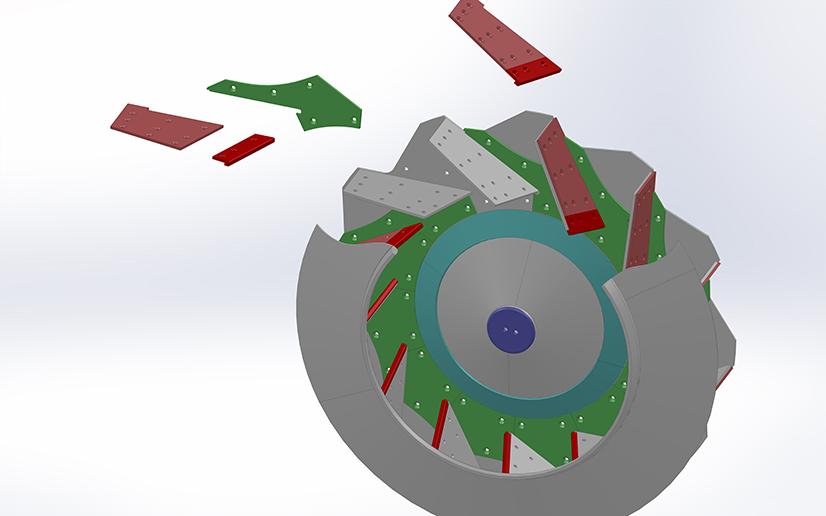 arrangement of wear liners on impeller fan